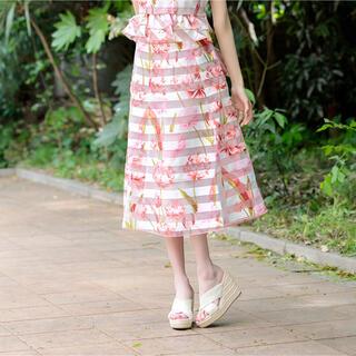 エミリアウィズ(EmiriaWiz)のemiria wiz エミリアウィズ シアー異素材ミモレ丈スカート Sサイズ(ロングスカート)