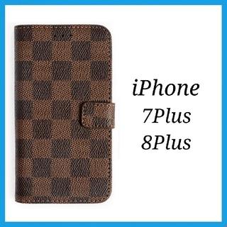 iPhone7Plus iPhone8Plus 茶色 格子柄 iPhoneケース