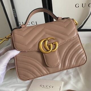 Gucci - GUCCI GGマーモント ミニトップ ハンドルバッグ