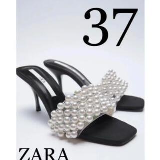 ZARA - Zara フェイクパール ハイヒールサンダル 37 24.0cm サンダル