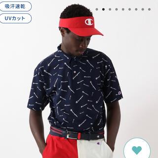 Champion - チャンピオン ネイビー 開襟 ビッグ ゴルフウェア ポロシャツXL 総ロゴ