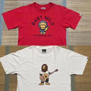 A BATHING APE - APE BAPE KAWS BABY MILO tシャツ 赤 s camo