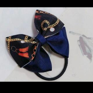 夏 大人 北欧 スカーフ柄 スカーフ グログランリボン 重ねリボン ヘアゴム 3