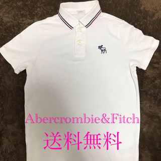 Abercrombie&Fitch - Abercrombie&Fitch アバクロ 半袖 ポロシャツ S 白ロゴ 刺繍