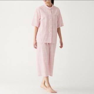 MUJI (無印良品) - 脇に縫い目のない サッカー織り 半袖パジャマ(七分丈パンツ)L