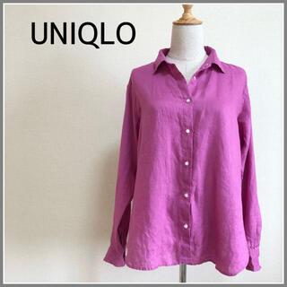 UNIQLO - ユニクロ リネンシャツ ピンク L