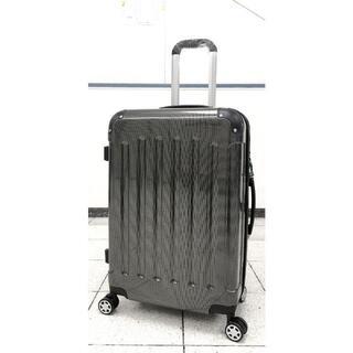 中型軽量スーツケース 8輪キャリーバッグ TSAロック付き Mサイズ 黒(旅行用品)