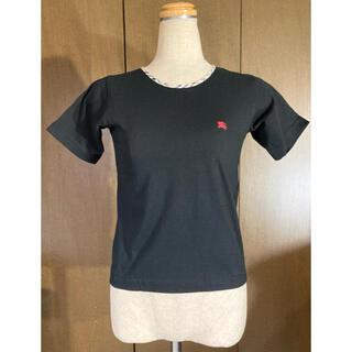 バーバリー(BURBERRY)のバーバリー ロンドン ワンポイントロゴ Tシャツ タイト 黒 ヴィンテージ(Tシャツ(半袖/袖なし))
