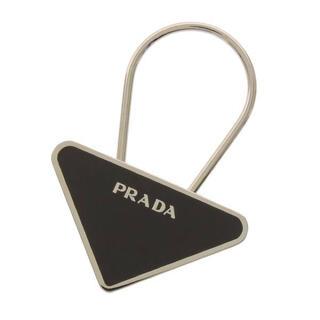 PRADA - PRADA◆プラダ 定番三角ロゴ キーホルダー/キーリング 黒ブラックxシルバー