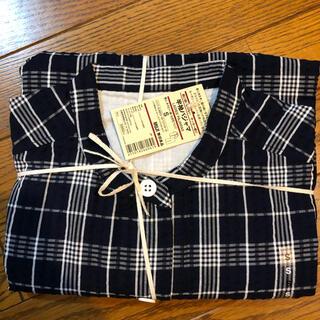 MUJI (無印良品) - 脇に縫い目のない サッカー織り半袖パジャマ 婦人S・紺×柄七分袖パンツ