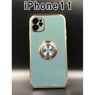 iPhone11 ケース 可愛い シンプル 韓国 人気 ブルーグレー F