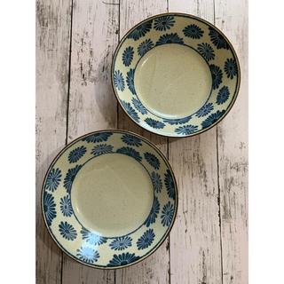 沖縄やちむん風 花21.5cmパスタ皿2枚 和食器 美濃焼 オシャレ 磁器