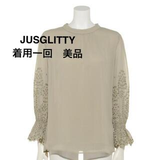 JUSGLITTY - JUSGLITTY ブラウス カーキ