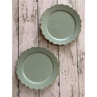 洋食器ラウンドグレー2枚 中皿 美濃焼オシャレ 磁器 カフェ風 丸皿 デザート皿