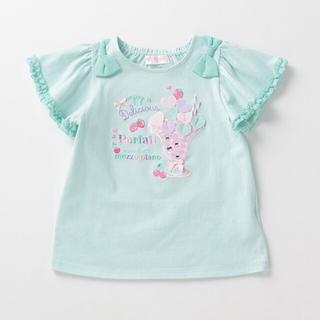 mezzo piano - パフェ刺繍肩リボン メゾピアノ Tシャツ