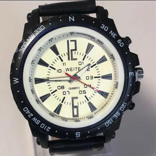 新品 WEITE ビッグフェイスウォッチ ブラックケース・バンド メンズ腕時計