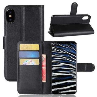 全9カラー iphoneXS/X シンプル レザー 手帳型ケース ブラック