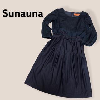 スーナウーナ(SunaUna)のSunauna 日本製 リボン付き切替ワンピース(ひざ丈ワンピース)
