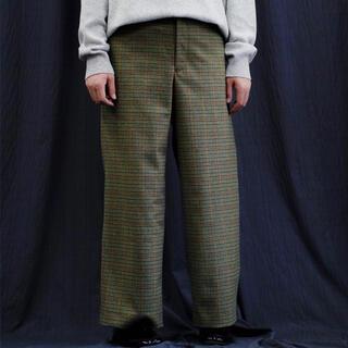 19AW URU WOOL CHECK WIDE PANTS