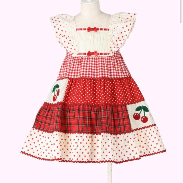 Shirley Temple(シャーリーテンプル)のパッチワークワンピース110 キッズ/ベビー/マタニティのキッズ服女の子用(90cm~)(ワンピース)の商品写真
