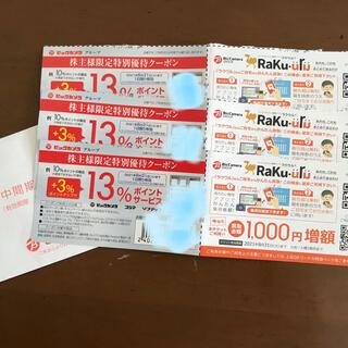 【3枚】ビックカメラ3%ポイントアップ&ラクウル1000円増額チケット(ショッピング)