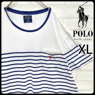 POLO RALPH LAUREN - 【希少】ポロ ラルフローレン 半袖 ボーダー Tシャツ 白 青 XL 刺繍 夏