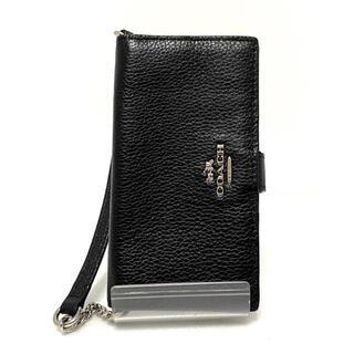 コーチ(COACH)のコーチ 携帯電話ケース - 64722 黒 手帳型(モバイルケース/カバー)