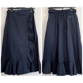 ミュベールワーク(MUVEIL WORK)のMUVEIL フリル 巻きスカート ギャザー ティアード ネイビー(ロングスカート)