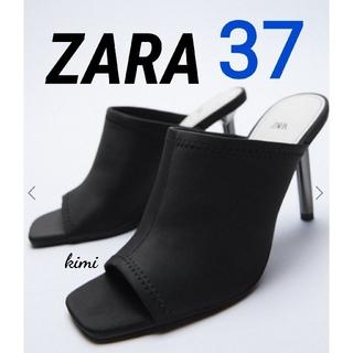 ZARA - ZARA (37  黒) ネオプレンハイヒールミュール サンダル メタリック