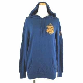 パーリーゲイツ(PEARLY GATES)のパーリーゲイツ ニットパーカー セーター フーデッド  ロゴ 長袖 ブルー 1(ニット/セーター)