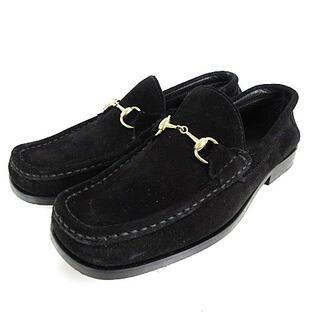 グッチ(Gucci)のグッチ ビット ローファー スエード スクエアトゥ 黒 ブラック 36.5(ローファー/革靴)
