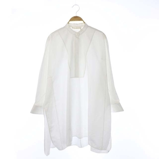 クロエ(Chloe)のクロエ CHLOE ロゴカフス ロングシャツ チュニック バンドカラー 34 白(シャツ/ブラウス(長袖/七分))