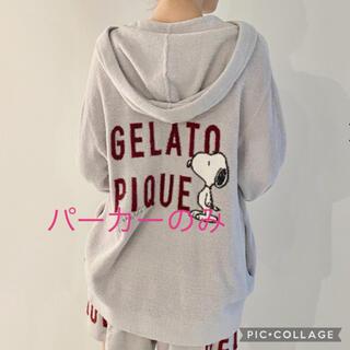 gelato pique - 【PEANUTS】ロゴジャガードパーカ ブルー