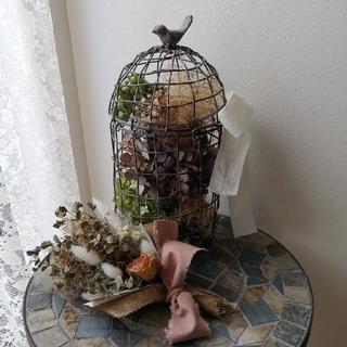 アンティークな鳥かごのドライフラワーアレンジメント♡ミモザのスワッグラクマパック(ドライフラワー)
