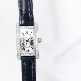 Cartier - 【保証書付】カルティエ タンクアメリカン ミニ シルバー ダイヤ 腕時計