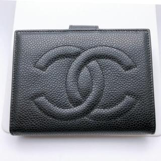 CHANEL - CHANEL シャネル 二つ折り財布 がま口 キャビアスキン ココマーク