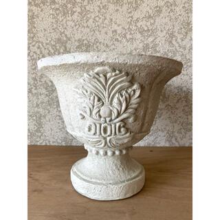 陶器鉢 アンティーク系ホワイトハイカッブ処分(プランター)