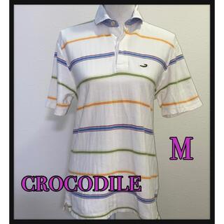 クロコダイル(Crocodile)のcrocodile ボーダーロゴ刺繍ポロシャツ(ポロシャツ)