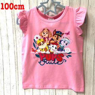 [新品タグ付き]パウパトロール ピンク袖フリルTシャツ100cm