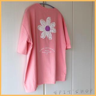 【新品】レディース トップス バックプリントTシャツ フラワー XLサイズ
