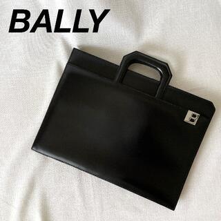Bally - BALLY 薄マチ 2way ブリーフケース クラッチバッグ ビジネスバッグ 黒