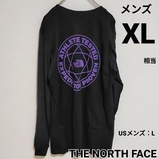 THE NORTH FACE - ノースフェイス アームロゴ ブラック パープル黒紫ロンT