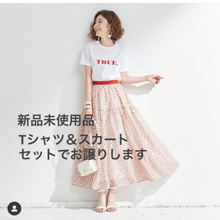 OBLI ドットレーススカート/レッド TRUE Tシャツ/ホワイト×レッド
