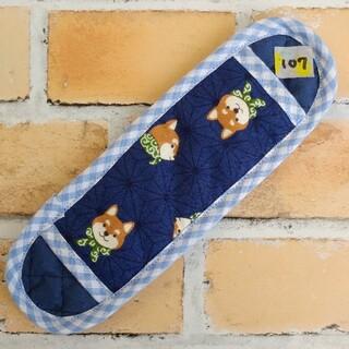 ネイビー麻の葉柴犬(107)水筒肩紐カバー(水筒)