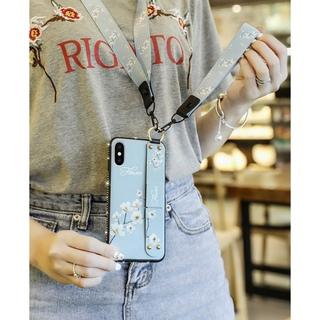 ストラップiPhone12 pro mini max ケース       (iPhoneケース)