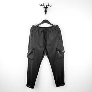 PRADA - PRADA_HXM072703ロゴ付き パンツ スウェット 黒  ジョガーパンツ
