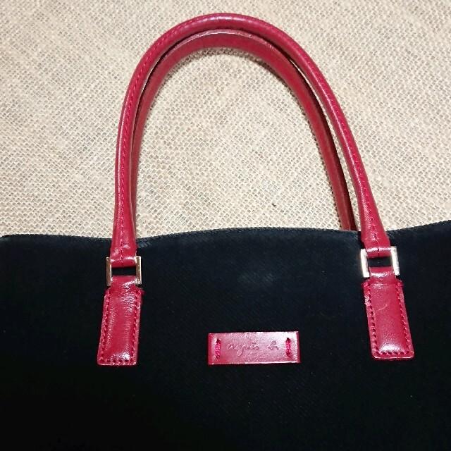 agnes b.(アニエスベー)のアニエスベーagnes b. コーデュロイトートバッグ  黒×赤レザー レディースのバッグ(ショルダーバッグ)の商品写真