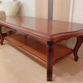 カリモク家具 - 美品 karimoku センターテーブル 籐 ラタン ヴィンテージ アンティーク