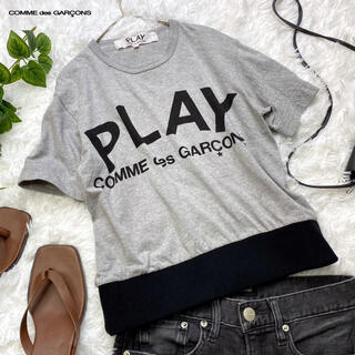 コムデギャルソン(COMME des GARCONS)のプレイコムデギャルソン  リブ付き Tシャツ グレー(Tシャツ(半袖/袖なし))