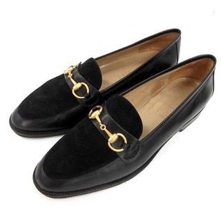 グッチ(Gucci)のグッチ ローファー ヴィンテージ ホースビット レザー 36.5 23cm 黒(ローファー/革靴)